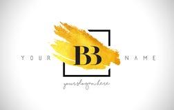 BB Golden Letter Logo Design with Creative Gold Brush Stroke stock illustration