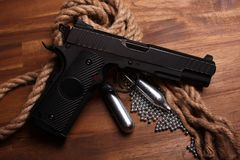 BB gun. With ammo and tubes Stock Photo