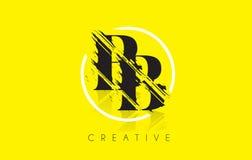 BB Letter Logo with Vintage Grundge Drawing Design. Destroyed Cu Royalty Free Stock Image