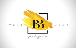 BB loga Złoty Listowy projekt z Kreatywnie złota muśnięcia uderzeniem ilustracji