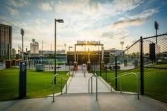 BB&T-basebollarena på solnedgången, i uptownen Charlotte, North Carolina Fotografering för Bildbyråer