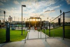 BB&T-basebollarena på solnedgången, i uptownen Charlotte, North Carolina Royaltyfri Bild