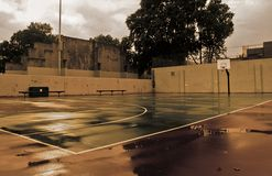 Bball court. Basketball court with brown tones Royalty Free Stock Photos