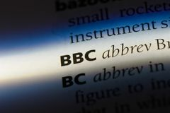 Bbc. Word in a dictionary.  concept Royalty Free Stock Image