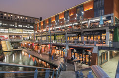 BBC Birmingham city, the mailbox. A view of BBC studios and The Mailbox at the the canal near Brindley Place in Birmingham City, England Royalty Free Stock Images