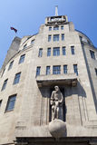 BBC Broadcasting House in London. Looking up at the art deco style of BBC Broadcasting House in London Stock Photos