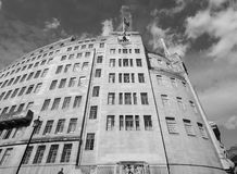 BBC Broadcasting House in London black and white. LONDON, UK - CIRCA JUNE 2017: BBC Broadcasting House headquarters of the British Broadcasting Corporation in Royalty Free Stock Photography