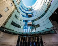 BBC Broadcasting House in London, hdr. LONDON, UK - CIRCA JUNE 2017: BBC Broadcasting House headquarters of the British Broadcasting Corporation in Portland Stock Images