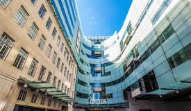 BBC Broadcasting House in London (hdr). LONDON, UK - CIRCA JUNE 2017: BBC Broadcasting House headquarters of the British Broadcasting Corporation in Portland Royalty Free Stock Photo