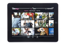 BBC iPlayer App voor iPad Royalty-vrije Stock Foto's