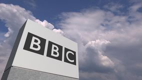 BBC logo against sky background, editorial animation. Company logo made against sky background, conceptual editorial 3D royalty free illustration