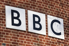 BBC Logo. NORWICH, UK - JANUARY 17TH 2017: The BBC logo on the exterior of their BBC East headquarters at The Forum in Norwich, on 17th January 2017 Stock Photos