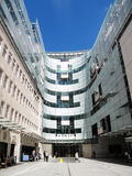 BBC New Broadcasting House. London, United Kingdom, May 14, 2014 :  Entrance to BBC New Broadcasting House in Portland Place which came in to use in 2012-13 Royalty Free Stock Photos