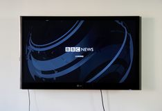 BBC News logo and app on LG TV. MONTREAL, CANADA - NOVEMBER 15, 2017: BBC News logo and app on LG TV. BBC News is an operational business division of the British Stock Images