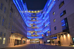 BBC night time. London, UK - September 13: night view of BBC Broadcasting House in London, UK on September 13, 2014. The building is the headquarters of the BBC Stock Photos