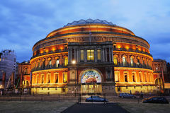 BBC Proms. London, UK - July 14, 2013: Outside view of Royal Albert Hall at night during the BBC Proms. The Proms is an annual events, summer season daily Royalty Free Stock Photography