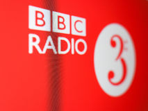 BBC Radio 3 logo in London. LONDON, UK - CIRCA SEPTEMBER 2016: BBC Radio 3 logo on digital tv freeview red button service stock image