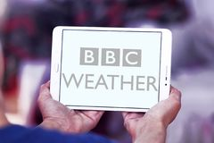 BBC Weather logo. Logo of BBC Weather on samsung tablet . BBC Weather is the BBC`s department in charge of preparing and broadcasting weather forecasts, and is Royalty Free Stock Photo
