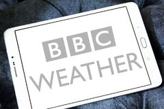BBC Weather logo. Logo of BBC Weather on samsung tablet . BBC Weather is the BBC`s department in charge of preparing and broadcasting weather forecasts, and is Royalty Free Stock Photography