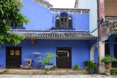 BBeautiful byggnad av Cheong Fatt Tze - den blåa herrgården arkivbilder