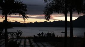 Bbeautiful sunrise over the mountains and volcano Batur on the noth of Bali island, Indonesia. Bbeautiful sunrise over the mountains and volcano Batur on the stock footage