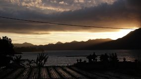 Bbeautiful sunrise over the mountains and volcano Batur on the noth of Bali island, Indonesia. Bbeautiful sunrise over the mountains and volcano Batur on the stock video