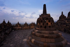 Bell stupas at Borobudur temple in Indonesia Stock Photo