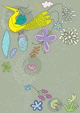 Bbird Flugwesen mit Blumen Stockfoto