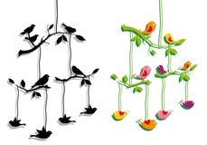 Bbirds con la filiale di albero, vettore Immagini Stock Libere da Diritti