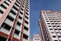 Bblock of HDB Flats. Found in Singapore against blue sky Royalty Free Stock Images