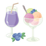 Bblueberry cocktail and drink. Vector illustration of blueberry cocktail  on white background. Ripe blueberry. Ball of ice cream with blueberry in glass cup Stock Photos