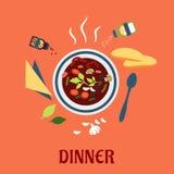 Bbowl горячего супа с хлебом и conditments Стоковое Изображение
