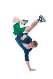 Bboy standing on one hand and pointing Stock Images