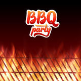 BBQ党文本、格栅和灼烧的火火焰 库存图片