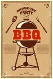 Bbq党海报 烤肉和格栅 设计卡片的,横幅,飞行物元素 库存例证