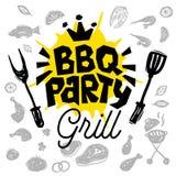 BBQ党食物海报 烤肉模板菜单邀请飞行物d 库存图片
