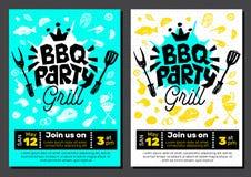 BBQ党食物海报 烤肉模板菜单邀请飞行物d 免版税库存图片