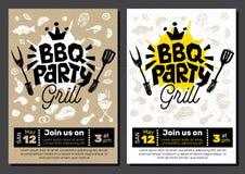 BBQ党食物海报 烤肉模板菜单邀请飞行物d 免版税图库摄影