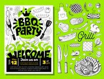 BBQ党食物海报 烤肉模板菜单邀请飞行物d 库存照片