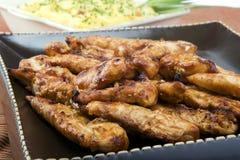 bbq加调料烘烤的鸡土豆 免版税库存照片