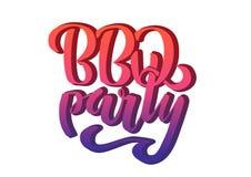 BBQ在商标传染媒介设计模板上写字的党手 在白色背景隔绝的梯度烤肉文本印刷标签 库存例证