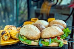 BBQ有菜的汉堡乳房在热的木炭格栅 免版税库存图片