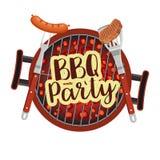 Bbq烤肉党海报 免版税库存照片