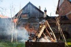 bbq的木柴 免版税库存图片