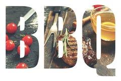 BBQ,简称,烤肉,字体,设计,透明度,食物BB 免版税库存图片