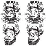 Bbq αγελάδων λογότυπο απεικόνιση αποθεμάτων
