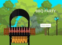 BBQ αφίσα κομμάτων με τα κρέατα στη σχάρα Στοκ εικόνα με δικαίωμα ελεύθερης χρήσης