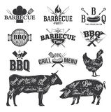 BBQ εμβλήματα και λογότυπα Στοκ Εικόνες
