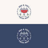 BBQ και σχαρών καθορισμένα χρώμα λογότυπων και ύφος γραμμών με το φρέσκο κρέας σημαδιών ελεύθερη απεικόνιση δικαιώματος