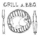 BBQ και σχαρών λογότυπο Ακατέργαστο κοτόπουλο ή Τουρκία σε μια σχάρα σχαρών Με το δίκρανο και τις λαβίδες καπνισμένος γάμος ντομα διανυσματική απεικόνιση